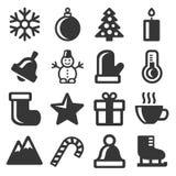 Icone di inverno messe su fondo bianco Vettore Immagine Stock