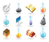 icone di Isometrico-stile per chimica Fotografia Stock