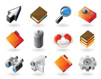 icone di Isometrico-stile per l'interfaccia Fotografia Stock Libera da Diritti