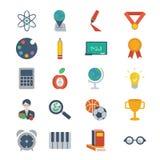 Icone di istruzione e della scuola Fotografie Stock Libere da Diritti