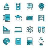 Icone di istruzione e della scuola riguardanti Fotografia Stock