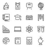 Icone di istruzione e della scuola riguardanti Fotografie Stock Libere da Diritti
