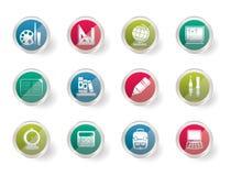 Icone di istruzione e della scuola sopra fondo colorato Immagini Stock