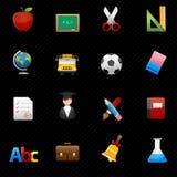 Icone di istruzione e fondo nero Fotografie Stock