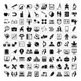Icone di istruzione, icone della scuola Fotografia Stock Libera da Diritti