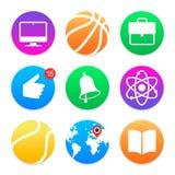 Icone di istruzione Insieme di simboli della scuola Fotografia Stock