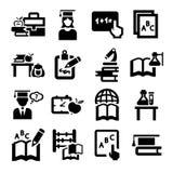 Icone di istruzione messe Fotografia Stock Libera da Diritti