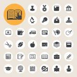 Icone di istruzione messe. Illustrazione Fotografie Stock Libere da Diritti