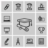 Icone di istruzione, segni, insieme dell'illustrazione di vettore Fotografia Stock Libera da Diritti