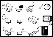Icone di istruzioni di cottura Fotografie Stock Libere da Diritti