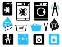 Icone di lavaggio Immagine Stock Libera da Diritti