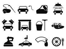 Icone di lavaggio dell'automobile messe Fotografia Stock Libera da Diritti