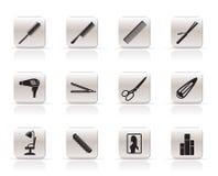 Icone di lavoro di parrucchiere, di coiffure e di trucco illustrazione di stock