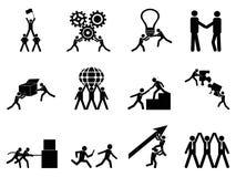 Icone di lavoro di squadra messe Fotografia Stock