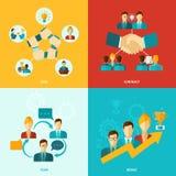 Icone di lavoro di squadra piane illustrazione di stock