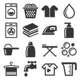 Icone di lavoro domestico e della lavanderia messe Vettore Fotografia Stock