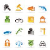 Icone di legge, della polizia e di crimine Fotografia Stock