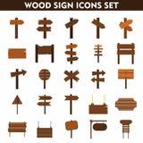 Icone di legno del segno messe su fondo bianco Fotografia Stock Libera da Diritti