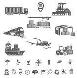 Icone di logistica della raccolta Immagine Stock