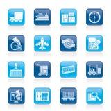 Icone di logistica e di trasporto Fotografie Stock Libere da Diritti