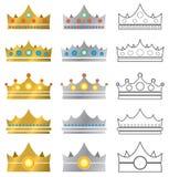 Icone di logo della corona Fotografia Stock