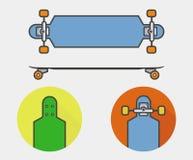 Icone di Longboard Fotografia Stock Libera da Diritti