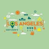 Icone di Los Angeles e progettazione di tipografia Fotografie Stock