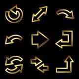 Icone di lusso di Web delle frecce dell'oro Immagini Stock Libere da Diritti