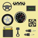 Icone di manutenzione dei ricambi auto Fotografia Stock