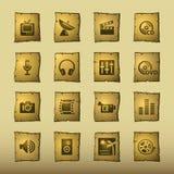 Icone di media del papiro Immagine Stock Libera da Diritti