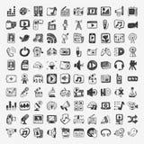 Icone di media di scarabocchio messe Immagine Stock