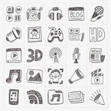 Icone di media di scarabocchio messe Immagini Stock Libere da Diritti