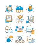 Icone di media di Digital Vendita sociale, gruppo della gente della comunità alla linea colorata indicativa del collegamento mobi illustrazione di stock