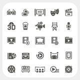 Icone di media e di film messe Fotografie Stock