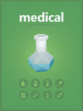 Icone di Midical messe con stile del poligono di vitro Fotografia Stock Libera da Diritti