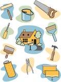 Icone di miglioramento domestico Fotografie Stock Libere da Diritti