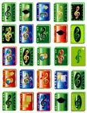 Icone di multimedia del dispositivo di piegatura Fotografia Stock