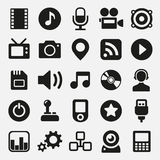 Icone di multimedia messe Fotografia Stock Libera da Diritti