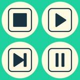 Icone di multimedia messe Raccolta della canzone di inizio Immagine Stock Libera da Diritti