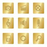 Icone di multimedia | Quadrato Bronze 03 Fotografia Stock Libera da Diritti