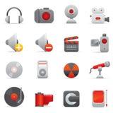 Icone di multimedia | Serie rosso 01 Immagine Stock Libera da Diritti