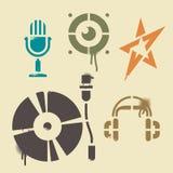 Icone di musica dello stampino Fotografia Stock