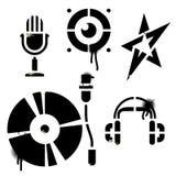 Icone di musica dello stampino Fotografia Stock Libera da Diritti