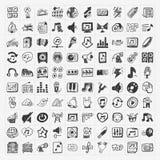 Icone di musica di scarabocchio messe Immagine Stock