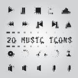 Icone di musica impostate Fotografia Stock