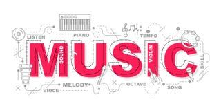 Icone di musica per progettazione grafica dell'illustrazione di istruzione Immagini Stock Libere da Diritti