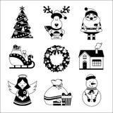 Icone di Natale in bianco e nero Immagini Stock