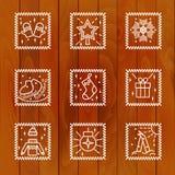 Icone di Natale con il fondo dell'albero Immagini Stock Libere da Diritti