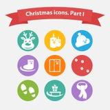 Icone di Natale di vettore in uno stile piano Immagini Stock Libere da Diritti