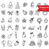 Icone di Natale, disegno di schizzo per la vostra progettazione Fotografia Stock